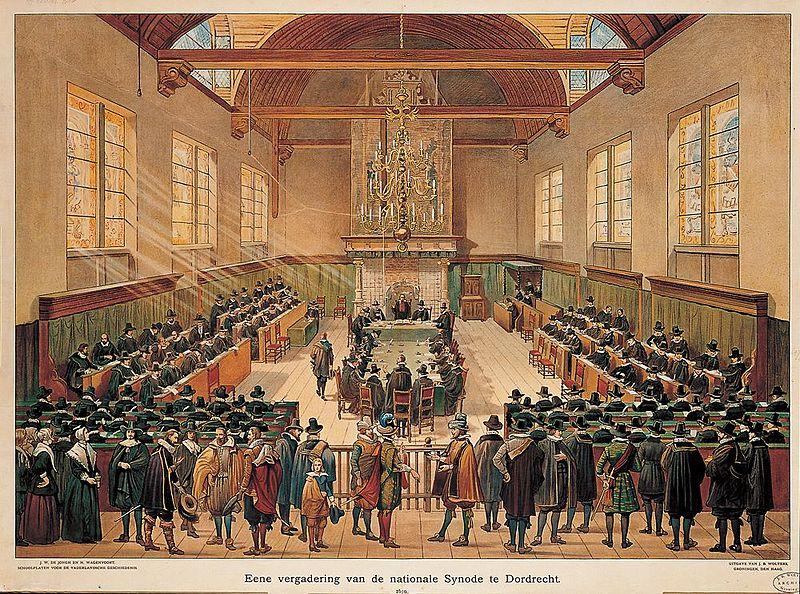 """Synode te Dordtrecht"" by Hove, G. van - http://www.entoen.nu/media/18_NationaleSynode.jpg. Licensed under Public Domain via Commons - https://commons.wikimedia.org/wiki/File:Synode_te_Dordtrecht.jpg#/media/File:Synode_te_Dordtrecht.jpg"