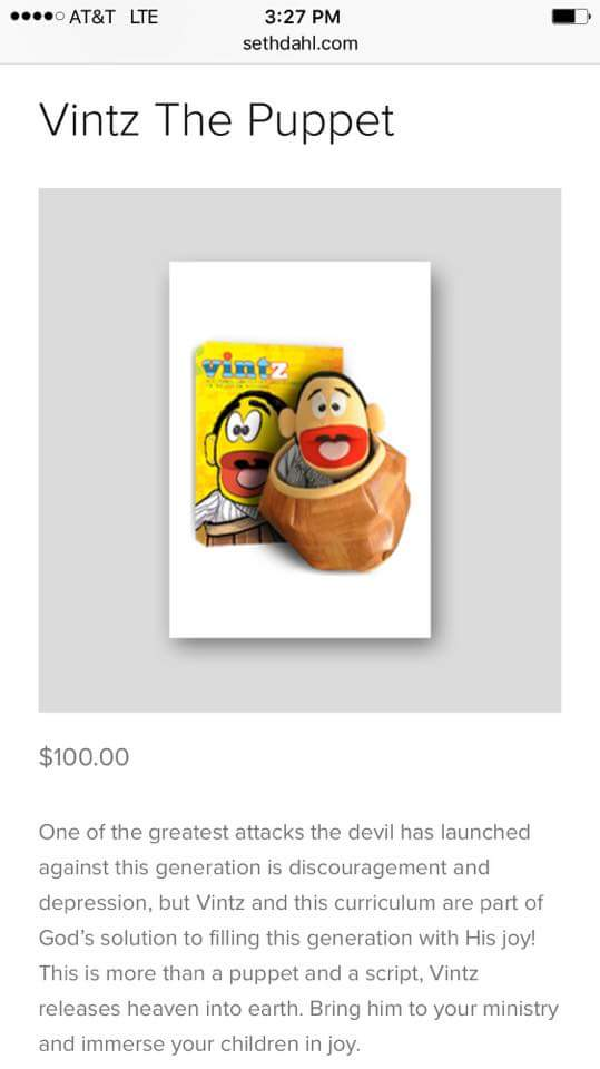 """This demonic """"toy"""" is available for just $100 on false teacher Seth Dahl's website."""