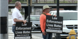 "Pastor Mike and Tony with ""Law Enforcement Lives Matter"" Signs"